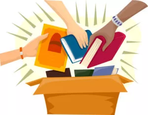 Illustration of hands grabbing books from a box